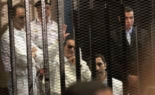 Illustration du procès d'Hosni Moubarak, l'ancien président égyptien en avril 2013.
