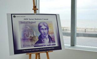 Présentation du nouveau billet de 20 livres à l'effigie du peintre Joseph Mallord Turner à Margate en Angleterre, le 22 avril 2016