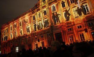 La place des Terreaux illuminée en décembre 2014 lors de la Fêtes des Lumières.