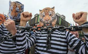 Des manifestatants contre les animaux sauvages dans les cirques, à Strasbourg, avril 2018.