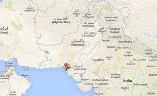 Capture d'écran d'une carte du Pakistan et de l'Afghanistan.