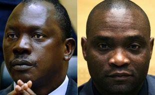 Les chefs miliciens congolais Thomas Lubanga (G) et Germain Katanga lors de leur procès à La Haye le 23 mai 2014
