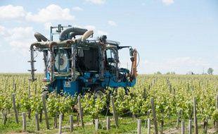 Un épandage dans des vignes bordelaises.