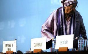 La présidente du Liberia, Ellen Johnson-Sirleaf, le 16 décembre 2015 lors de la 10e conférence ministérielle de l'Organisation mondiale du commerce (OMC) à Nairobi