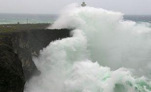 De grandes vagues causées par un typhon au Japon en 2014 (image d'illustration).