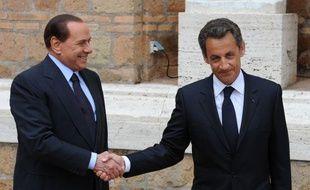 Silvio Berlusconi et Nicolas Sarkozy, le 26 avril 2011, à Rome.