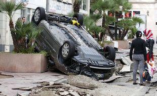 A Cannes, le 5 octobre 2015, deux jours après les inondations qui ont frappé les environs.