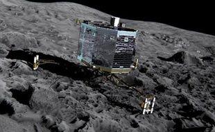 """Vue d'artiste fournie le 20 décembre 2013 par l'ESA montrant le robot Philae sur la comète 67P/Churyumov-Gerasimenko, surnommée """"Tchouri"""""""