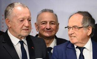 Jean-Michel Aulas en compagnie de Noël Le Graët, le 13 mars 2021.