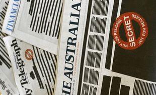 Les Unes de plusieurs journaux australiens datés du 21 octobre 2019 ont été délibérément caviardées pour protester contre la censure.