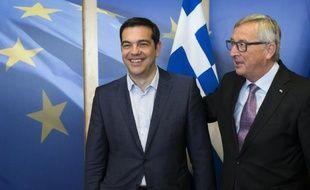 Le Premier ministre grec Alexis Tsipras et le président de la Commission européenne Jean-Claude Juncker à Bruxelles le 24 juin 2015