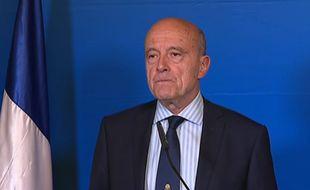 Alain Juppé s'exprime à l'issue du premier tour de la présidentielle, le 23 avril 2017.