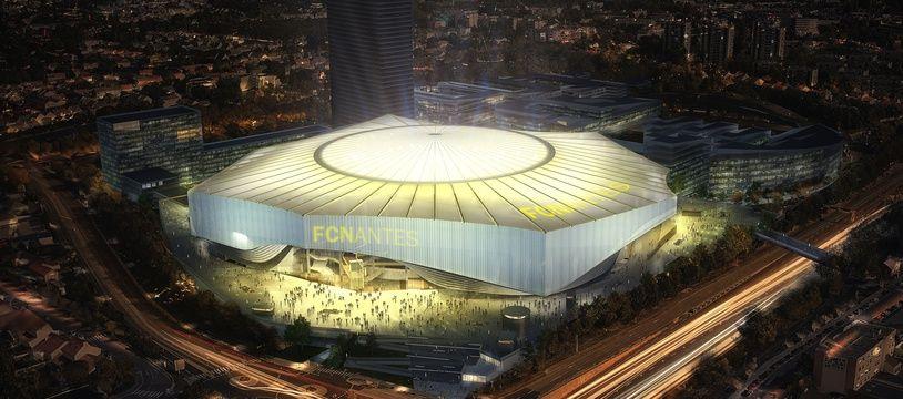 Image de synthèse du nouveau stade du FCN, ici avec le toit fermé.