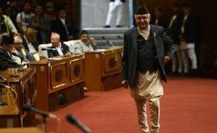Le chef du Parti communiste du Népal, KP Sharma Oli au Parlement à Katmandou lors de son élection au poste de Premier ministre du Népal, le 11 octobre 2015