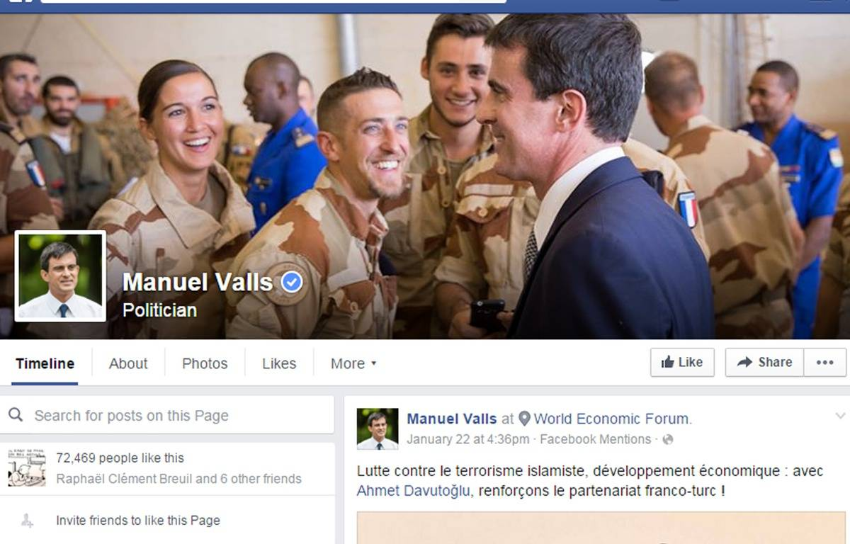 La page Facebook de Manuel Valls – Capture d'écran