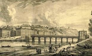 Le pont Morand, construit puis démonté en partie en 1793, par Jean-Antoine Morand.