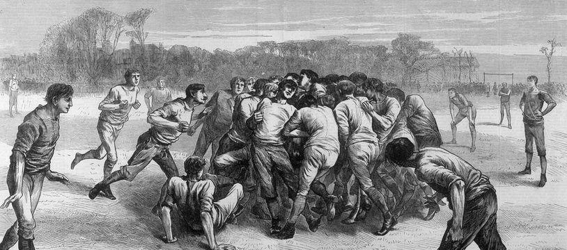 Un des tous premiers match de rugby de l'histoire : Angleterre-Ecosse au Kennignton Oval de Londres, en novembre 1871.