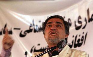 Le candidat à la présidentielle en Afghanistan, Abdullah Abdullah, lors d'un meeting à Kaboul le 27 Septembre 2009.