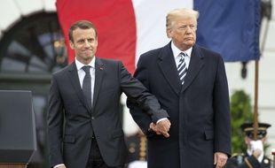 Emmanuel Macron et Donald Trump devant la Maison Blanche, le 24 avril 2018.