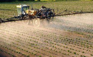 Un agriculteur français répand des pesticides sur un champ de pommes de terre (illustration).