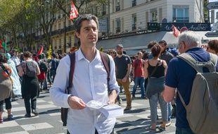 François Ruffin lors d'une manifestation à Paris en avril 2018.