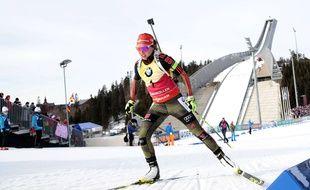 Laura Dahlmeier lors de la dernière manche de la Coupe du monde de biathlon, le 19 mars 2017 à Oslo.