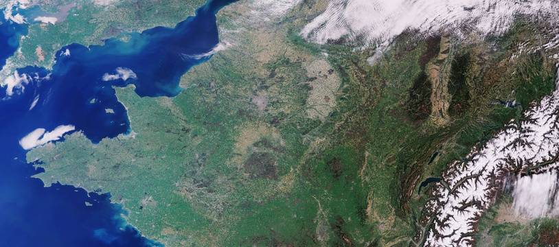 La France vue du ciel. Image satellite. (Illustration).