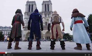 Capture d'écran de la vidéo YouTube du parkour dans les rues de Paris en hommage à «Assassin's Creed».