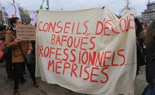 Mobilisation contre rythmes scolaires à Strasbourg le 15 janvier 2019.