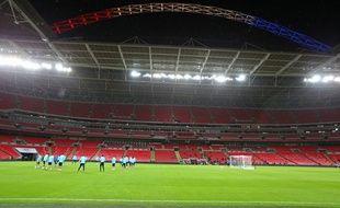 L'équipe de France à l'entraînement, le 16 novembre 2015, à Wembley.