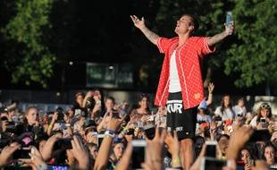 Le chanteur Justin Bieber en concert au British Summer Time Festival à Londres