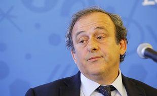 Michel Platini, President de l'UEFA, lors de la conférénce de presse du septième Comité de Pilotage de l'Euro 2016, à Lyon, le 12 mars 2015.
