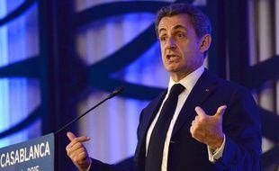 Casablanca (Maroc), le 21 juin 2015. Nicolas Sarkozy prononce un discours lors d'une réunion publique au Maroc.