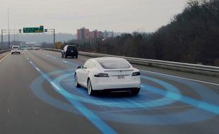 Illustration du système Autopilot sur une Tesla.