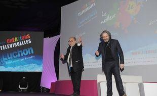 Serge Moati et Eric Laugerias lors de la cérémonie d'ouverture du 17e festival de Luchon, le 5 février 2015.