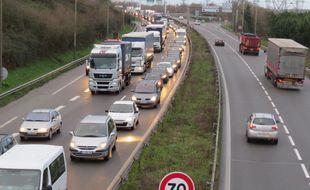 Embouteillages sur le secteur du pont de Cheviré (illustration).