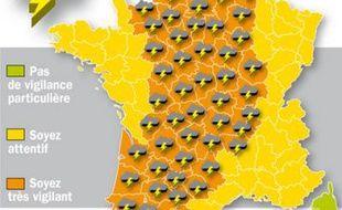 Carte des 55 départements placés en vigilance orange en raison d'orages violents, le 16 juillet 2009.