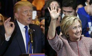 Donald Trump, le 20 avril 2016 à New York et Hillary Clinton, le 19 avril 2016 à New York.