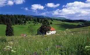 Paysage de montagne au printemps dans le Jura.