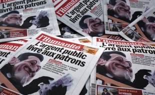 Vue prise le 13 octobre 2009 à Paris d'exemplaires du journal l'Humanité