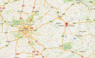 Google Map de Châlons-en-Champagne dans la Marne.
