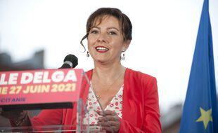 Carole Delga sur le Capitole, le dimanche 27 juin 2021, après l'annonce de sa large victoire.