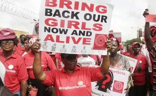 Une manifestation marque les trois ans de l'enlèvement des lycéennes de Chibok, à Lagos, au Nigeria, le 13 avril 2017.
