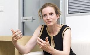 Le 05 septembre 2013. Nathalie Kosciusko-Morizet - NKM - en interview dans son local de campagne.