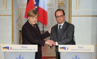 Angela Merkel et François Hollande à l'Elysée, le 25 novembre 2015.