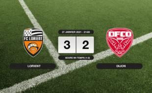Lorient - Dijon: Succès 3-2 de Lorient face à Dijon