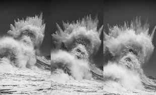 Sur les photos de Mathieu Rivrin prises samedi à Lesconil (Finistère), le dieu Poséidon semble jaillir de l'eau.