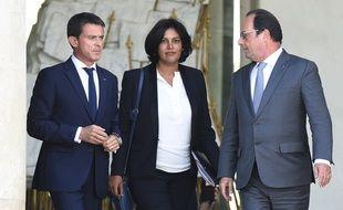 François Hollande, Manuel Valls et Myriam El Khomri le 2 septembre 2015