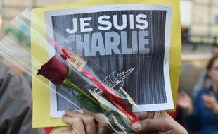 """""""Je suis Charlie"""" affiché lors d'une manifestation le 10 janvier 2015 à Marseille"""