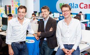 Les cofondateurs de la startup française BlaBlaCar Nicolas Brusson, Frédéric Mazzella et Francis Nappez.